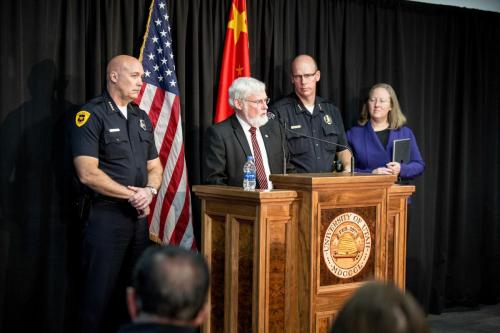 University of Utah President David W. Pershing, Dean of Students, Lori McDonald, University Department of Public Safety Chief Dale Brophy and Salt Lake City Police Chief Mike Brown speaking at a press conference held on Tuesday, October 31, 2017.Copyright: The University of Utah